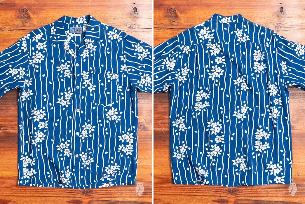 Short-Sleeved,-Patterned-Linen-Shirts---Five-Plus-One-4)-Blue-Blue-Japan-Sakura-Hanaikada-Cabana-Shirt