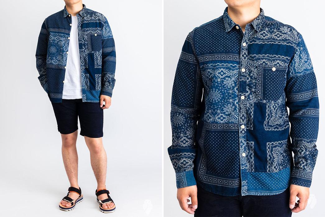 Soulive's-Ranru-Shirts-are-Bandanas,-B-A-N-D-A-N-A-S-shirt-blue-model-front