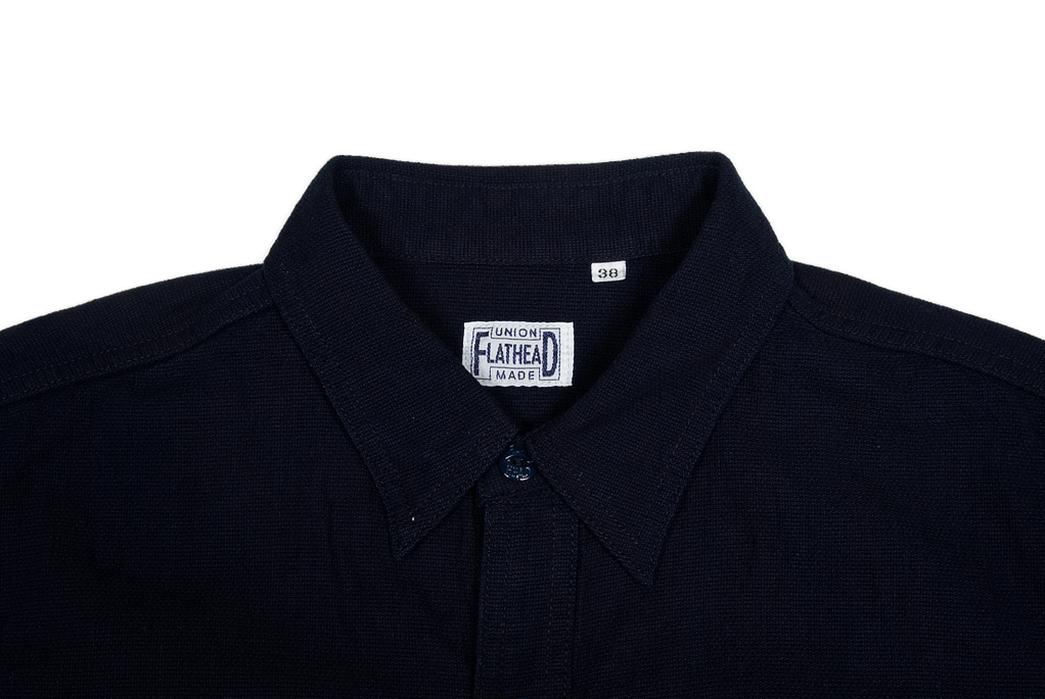 The-Flat-Head's-Indigo-Dyed-Linen-Shirts-Make-a-Glorious-Return-dark-shirt-sleeves-front-collar