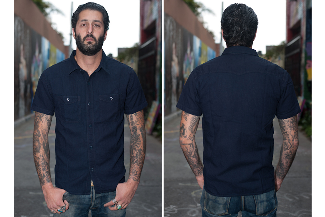 The-Flat-Head's-Indigo-Dyed-Linen-Shirts-Make-a-Glorious-Return-short-sleeves-dark-model-front-back