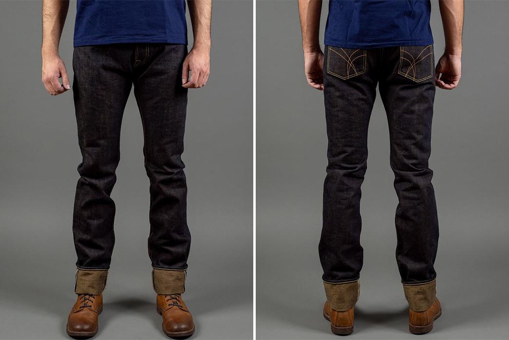 The-Strike-Gold-2105-Raw-Denim-Jeans-model-front-back