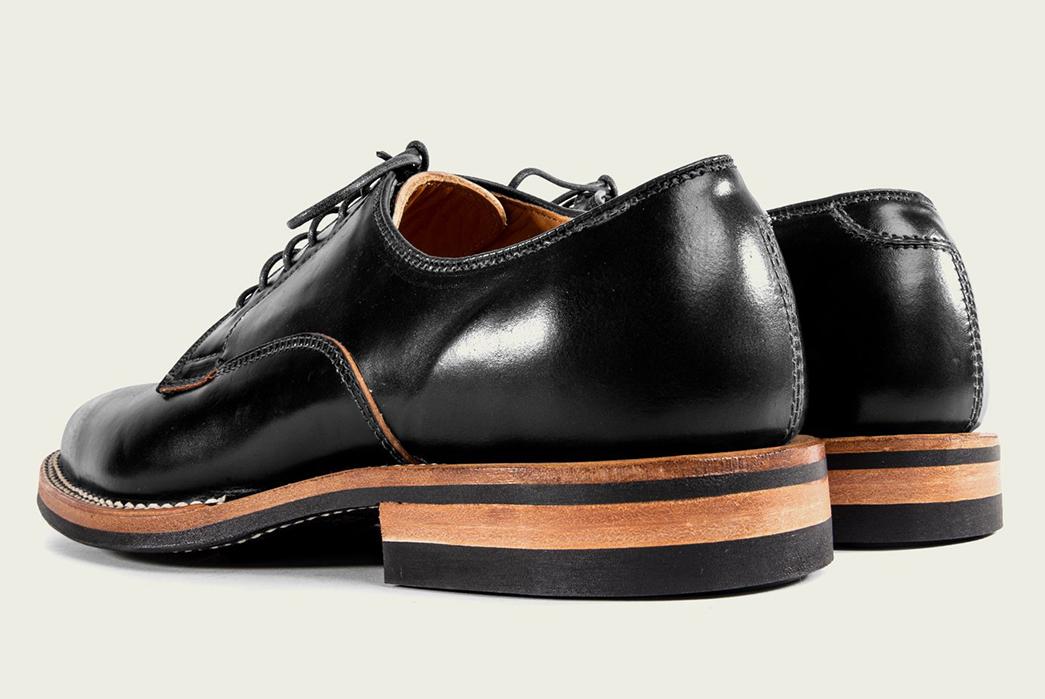Viberg's-Digs-Their-Heels-Into-Shell-Cordovan-Derbies-black-pair-back-side