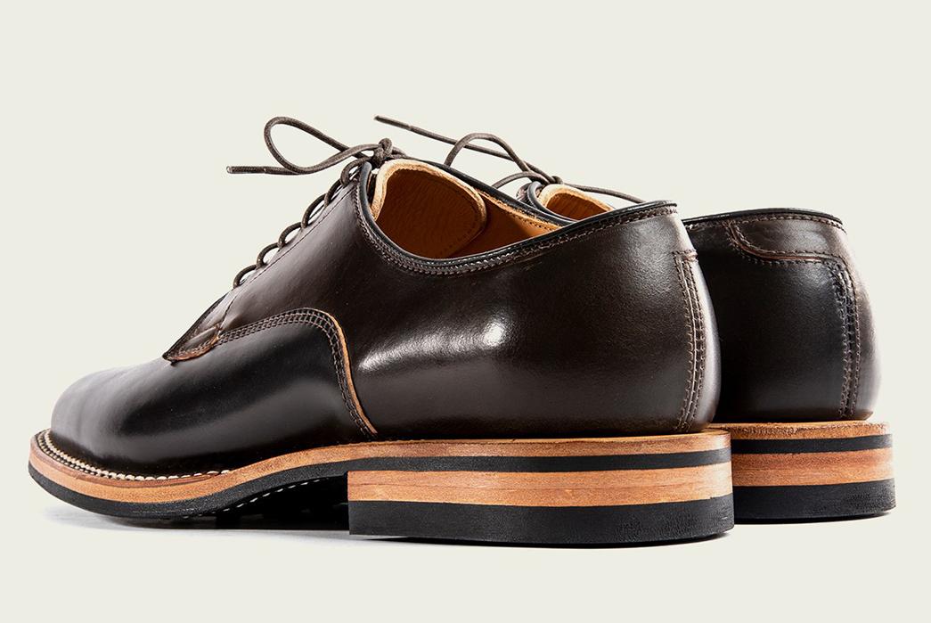 Viberg's-Digs-Their-Heels-Into-Shell-Cordovan-Derbies-brown-pair-back-side