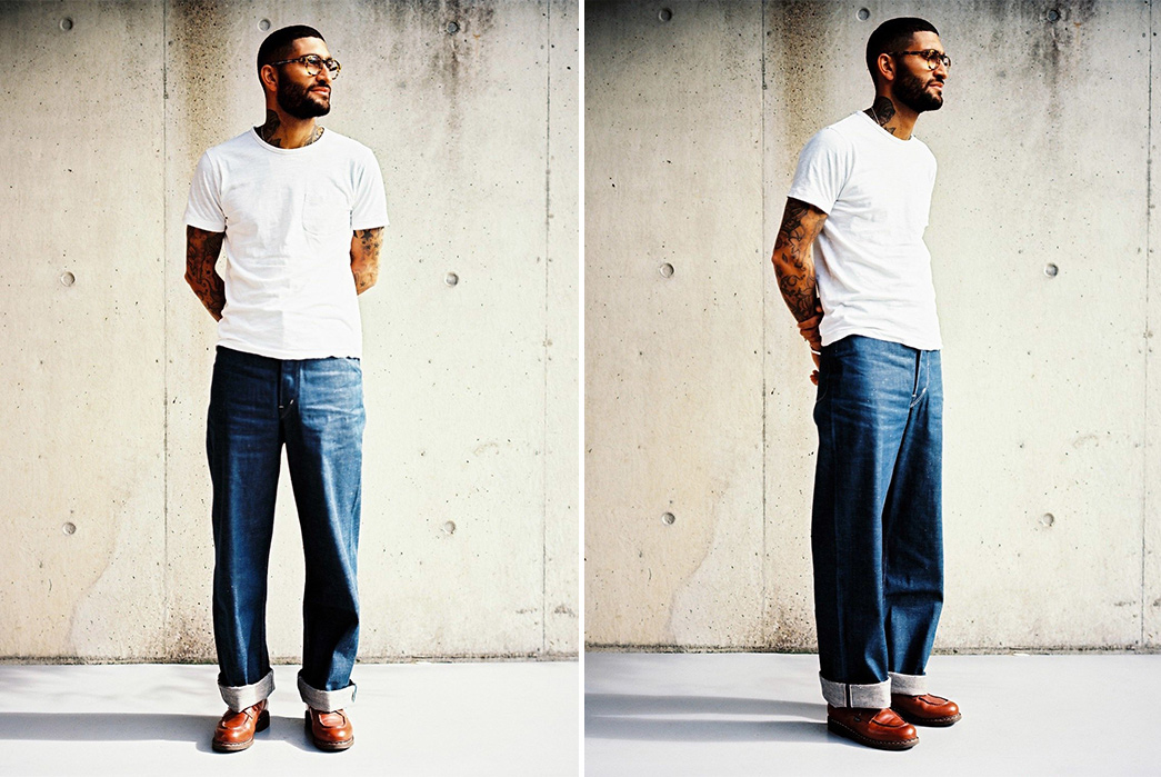 In-The-Garage-An-Interview-with-Dawson-Denim-model-side-and-back-blue-pants