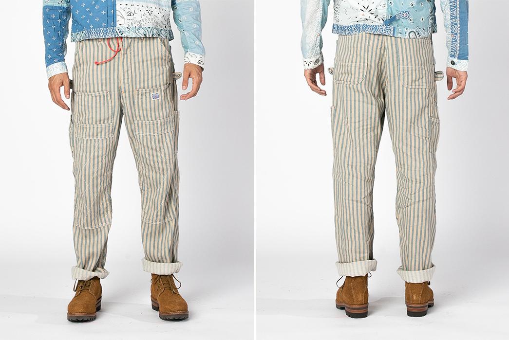 Kapital-Linen-Blues-Hickoree-Lumber-Pants-model-front-back