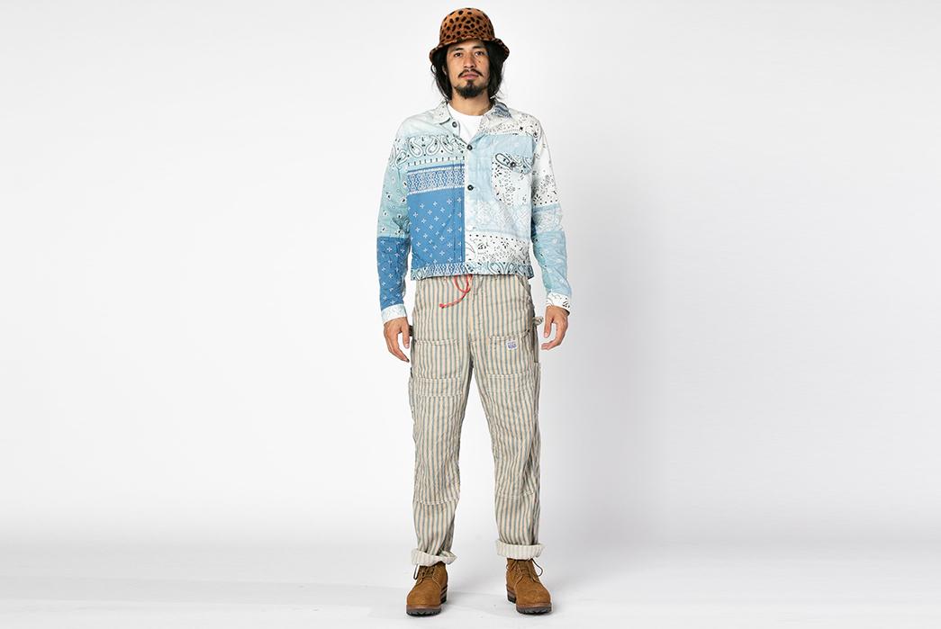Kapital-Linen-Blues-Hickoree-Lumber-Pants-model-front