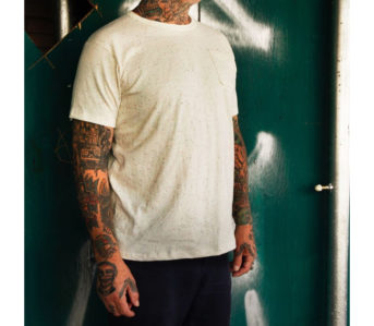 Left-Field's-New-Heather-Pocket-Tees-are-All-Cotton,-No-Filler-model-front