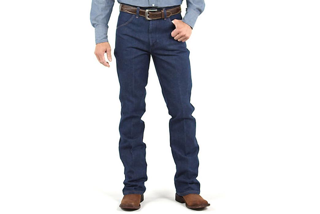 The-Guide-to-Every-Raw-Denim-Boot-Cut-Jean-Wrangler-Cowboy-Cut.-Image-via-Wrangler.