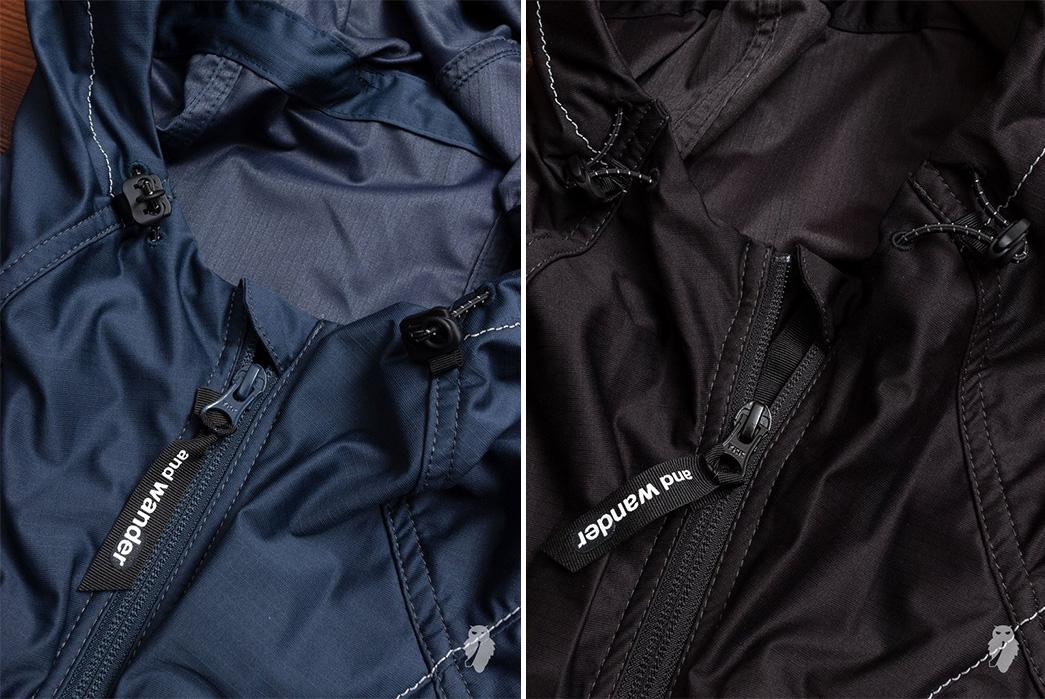 And-Wander-Raschel-Ripstop-Rain-Jackets-zipper-blue-and-black