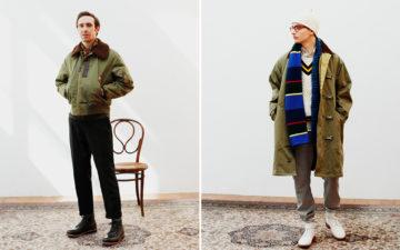 Beams-Plus-2019-Autumn-Lookbook-model-green-jackets