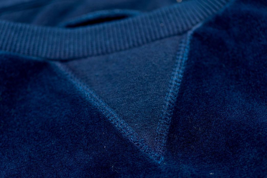 Blue-Blue-Japan-Indigo-Dyed-Velvet-Sweatshirt-model-front-top-sleeve