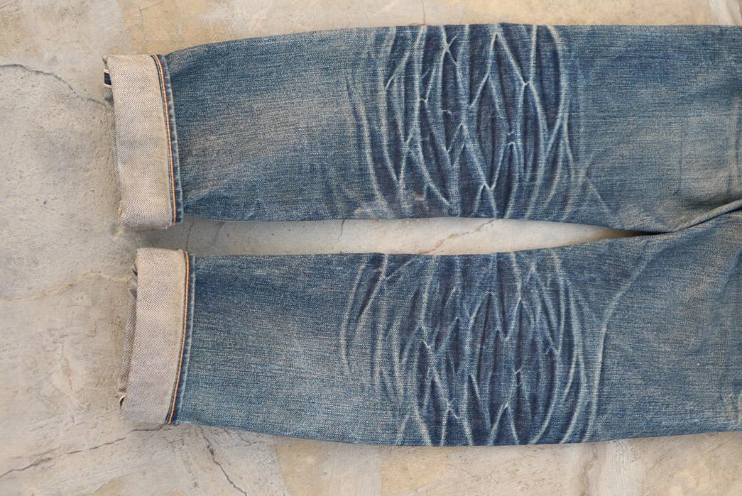 Fade Friday - Aye Denim Geometric Series A623 (~1.5 Years, 1 Wash, 2 Soak) legs