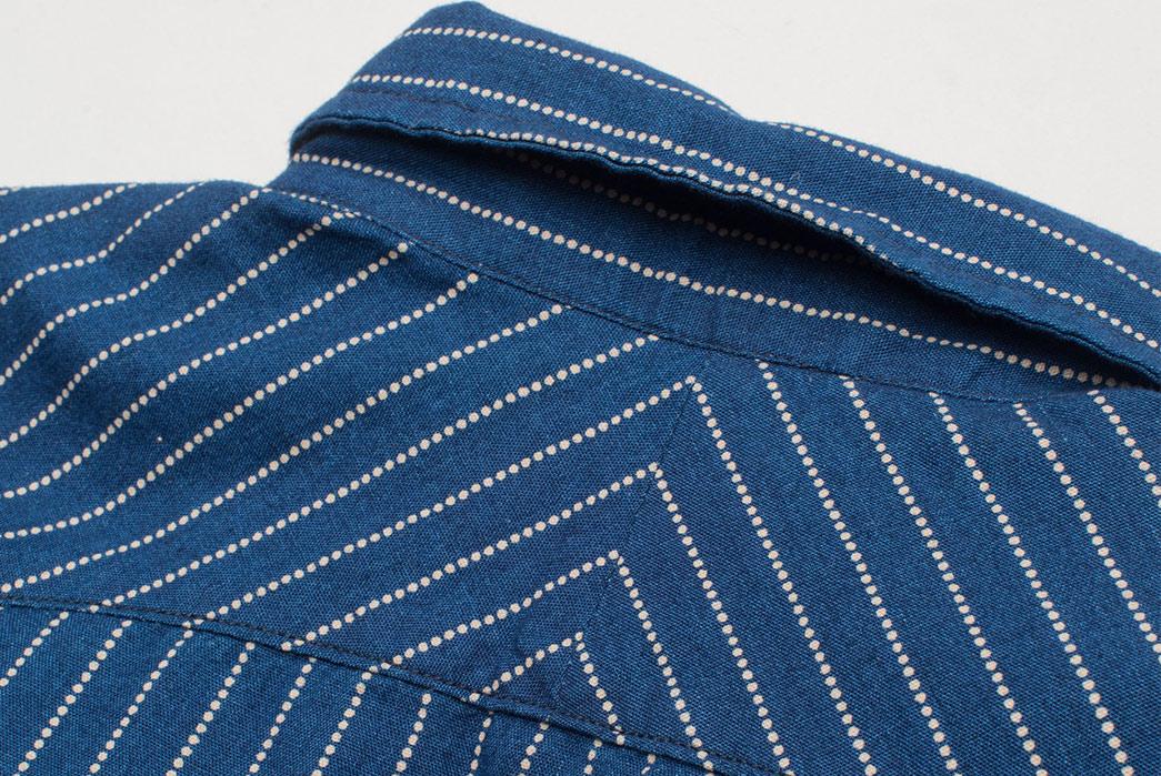Freenote Cloth Calico Shirt in Estate Indigo back collar
