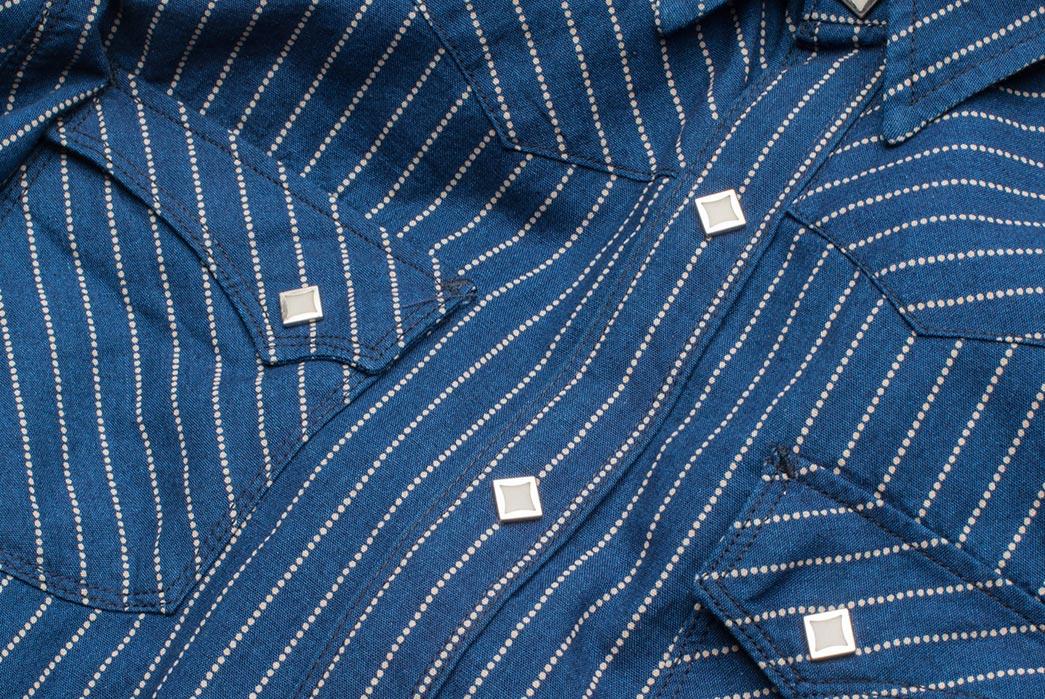 Freenote Cloth Calico Shirt in Estate Indigo detailed