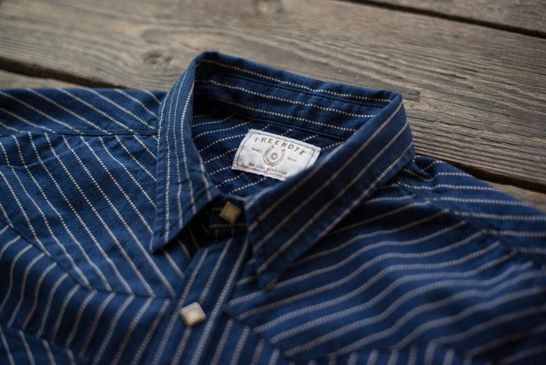 Freenote Cloth Calico Shirt in Estate Indigo front collar</a>