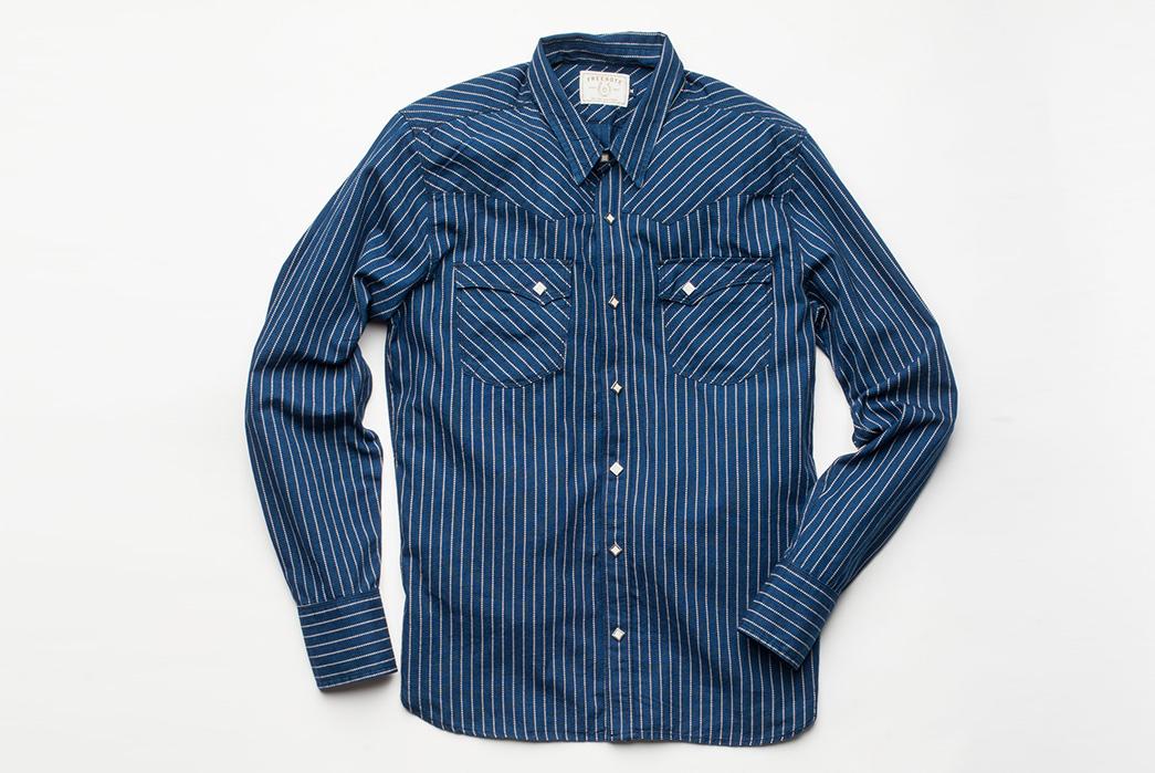 Freenote Cloth Calico Shirt in Estate Indigo front