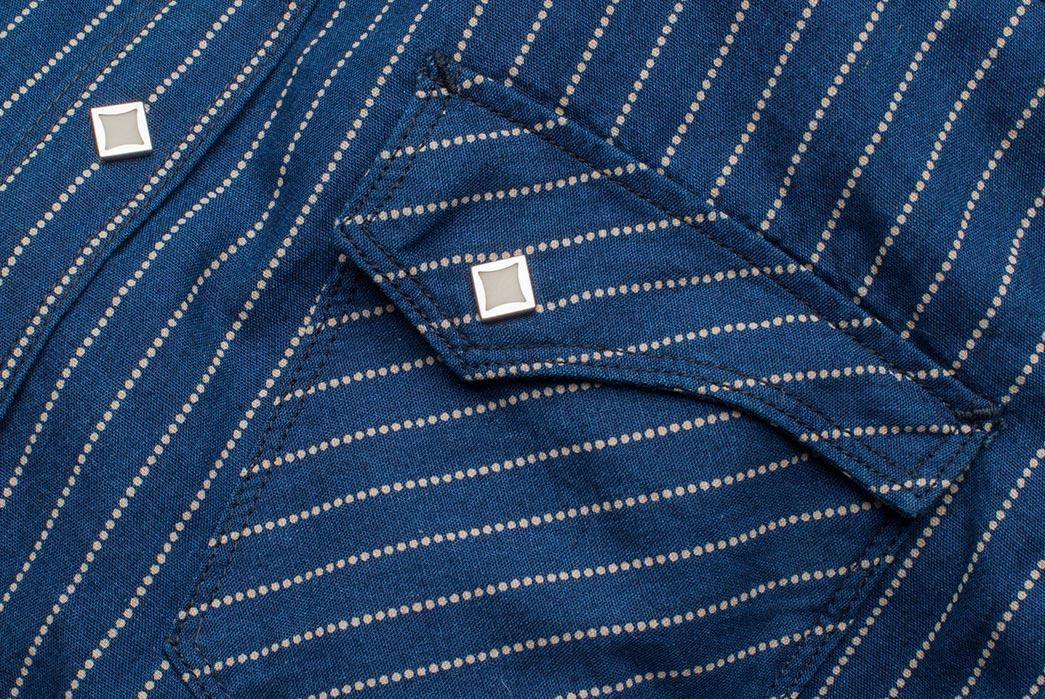Freenote Cloth Calico Shirt in Estate Indigo pocket