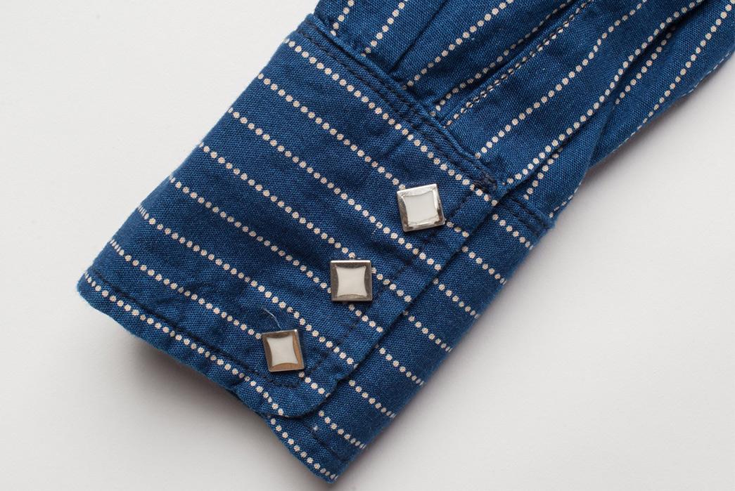 Freenote Cloth Calico Shirt in Estate Indigo sleeve