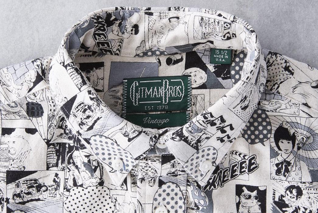 Gitman-Vintage-Introduces-a-Winter-Linen-Shirt-in-a-Wild-Anime-Print-noir-collar
