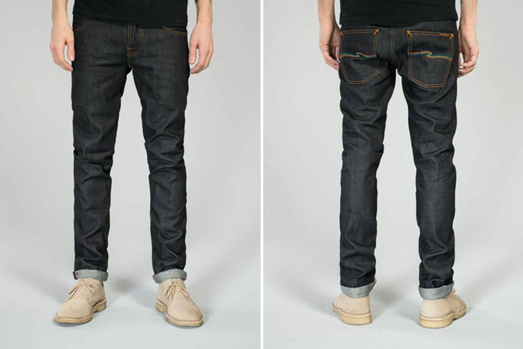 Nudie-Jeans-x-Oi-Polloi-Grim-Tim-Rainbow-Warrior-Raw-Denim-Jeans-front-back