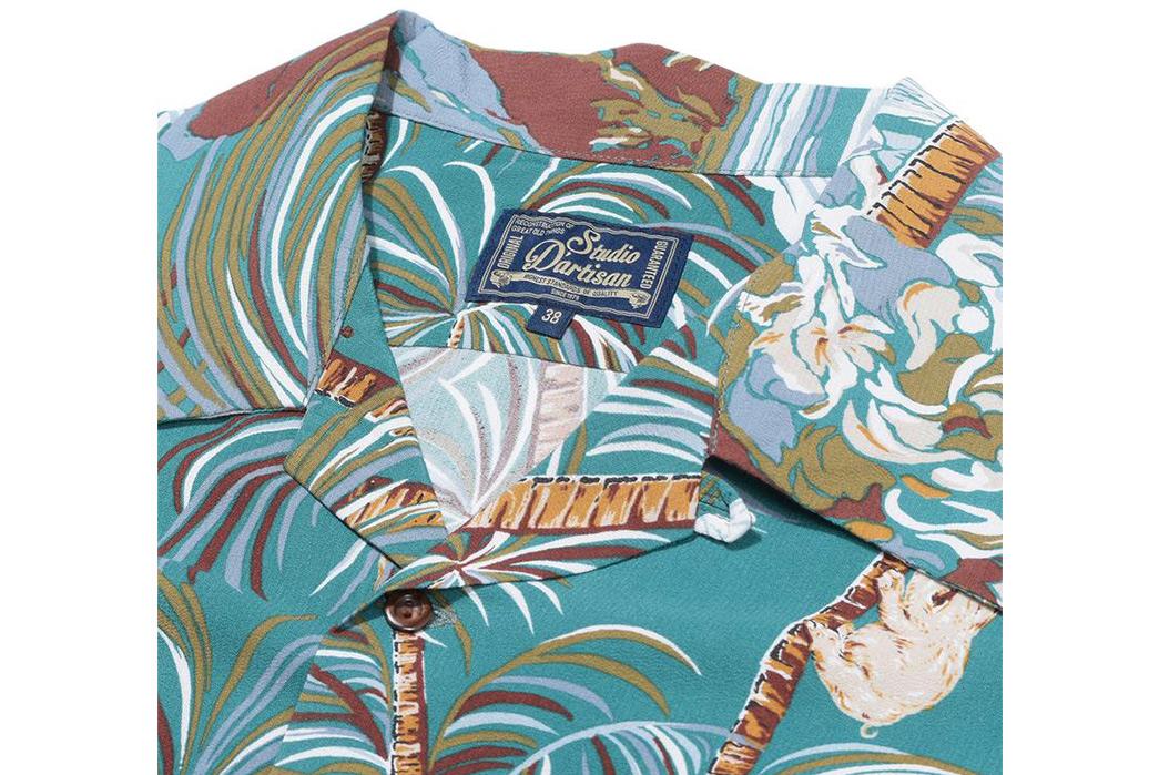 Studio-D'artisan-40th-Anniversary-Aloha-Shirts-green-collar