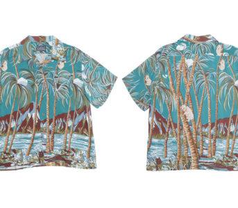 Studio-D'artisan-40th-Anniversary-Aloha-Shirts-green-front-back