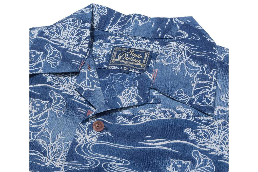 Studio-D'artisan-40th-Anniversary-Aloha-Shirts-indigo-collar
