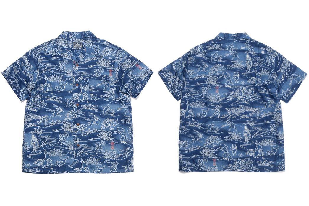 Studio-D'artisan-40th-Anniversary-Aloha-Shirts-indigo-front-back