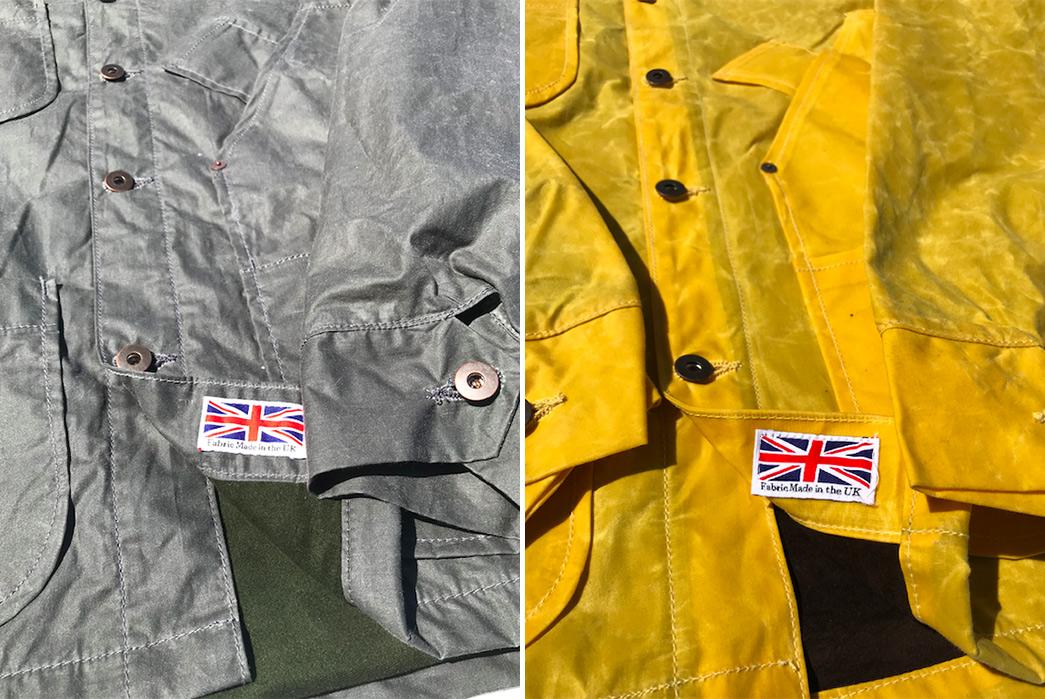 Tellason-British-Waxed-Canvas-Coverall-Jackets-grey-and-yellow-detailed