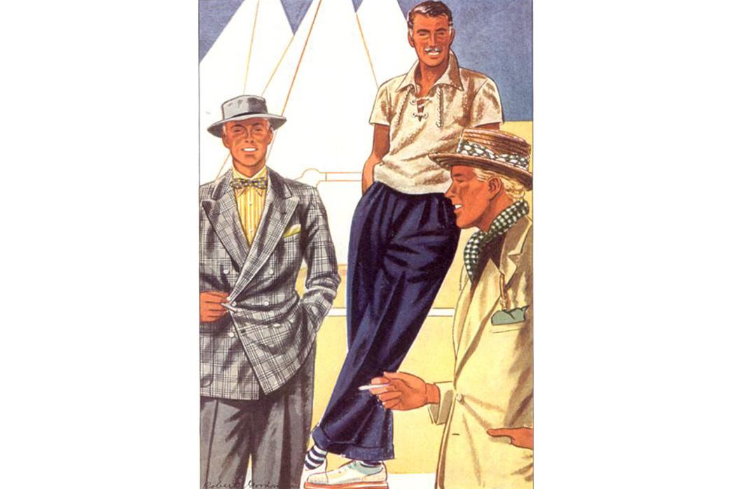 Textile-Tales-Terrycloth-Esquire-Illustration-(we-believe)-Terrycloth-shirt-on-center-gentleman.-Image-via-Pinterest.