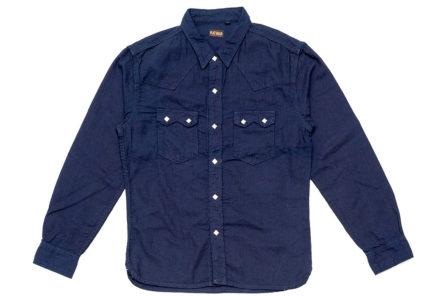 The-Flat-Head-8oz.-Indigo-Dobby-Western-Shirt front