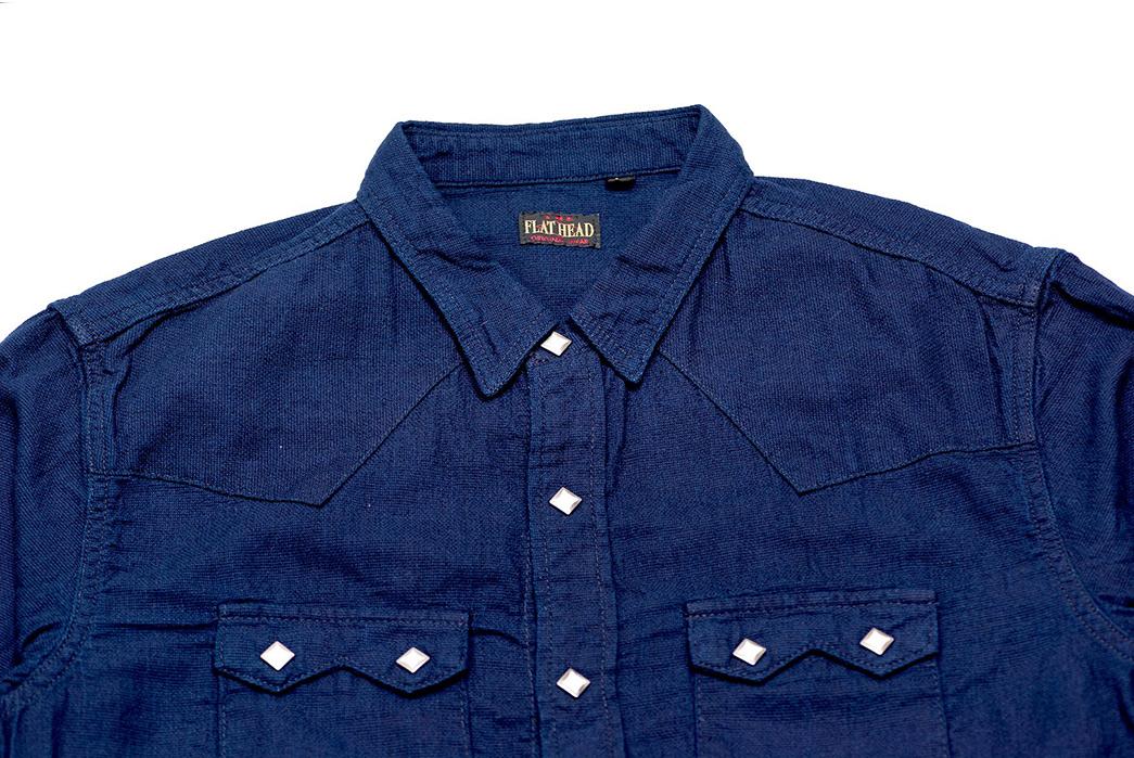 The-Flat-Head-8oz.-Indigo-Dobby-Western-Shirt-front-top