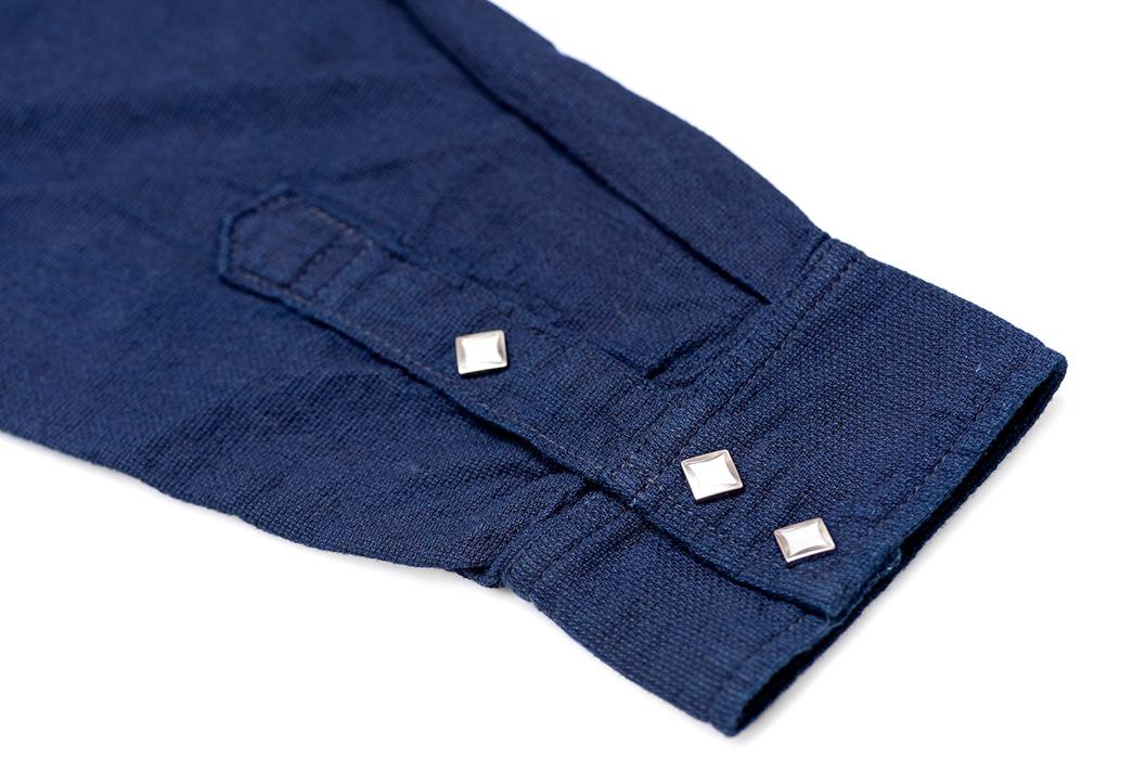 The-Flat-Head-8oz.-Indigo-Dobby-Western-Shirt-sleeve
