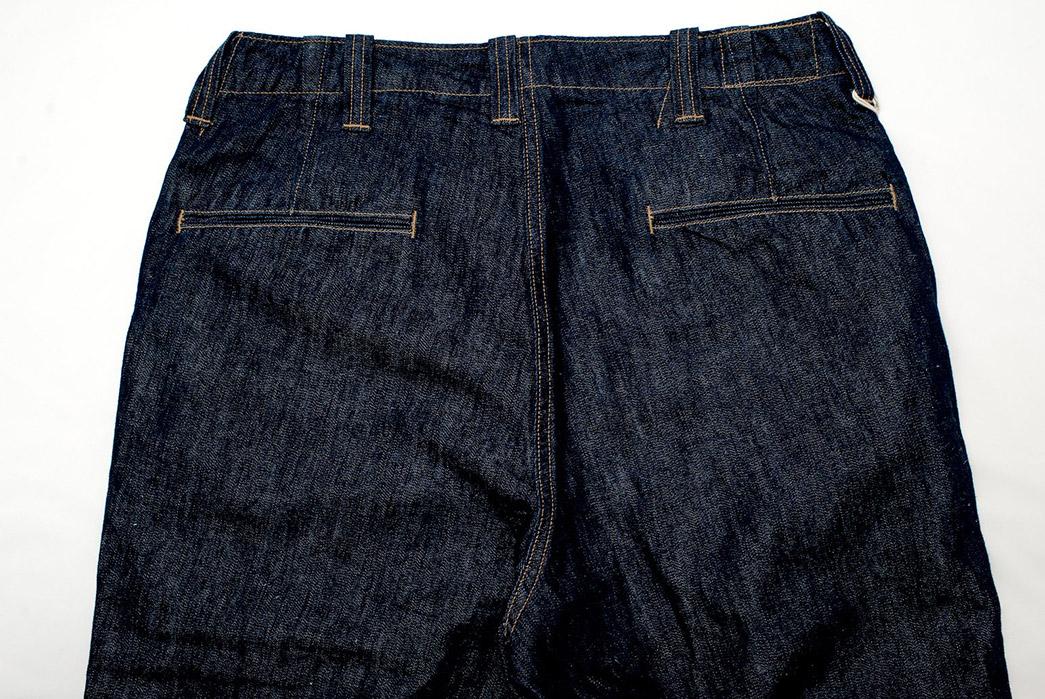 Freewheelers-M-1942-9.5oz.-Denim-Trousers-back-top