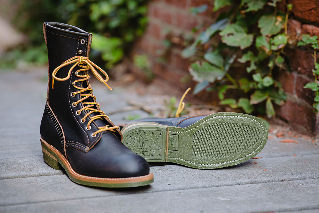Red-Wing-Heritage-and-Indigofera-Climb-Up-a-Green-Soled-Collab-pair-front-and-bottom