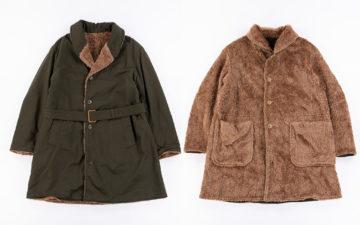 Engineered-Garments-Shawl-Collar-Reversible-Coats-green-and-beige