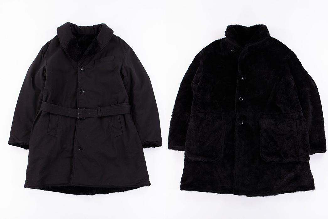 Engineered-Garments-Shawl-Collar-Reversible-Coats-grey-and-black