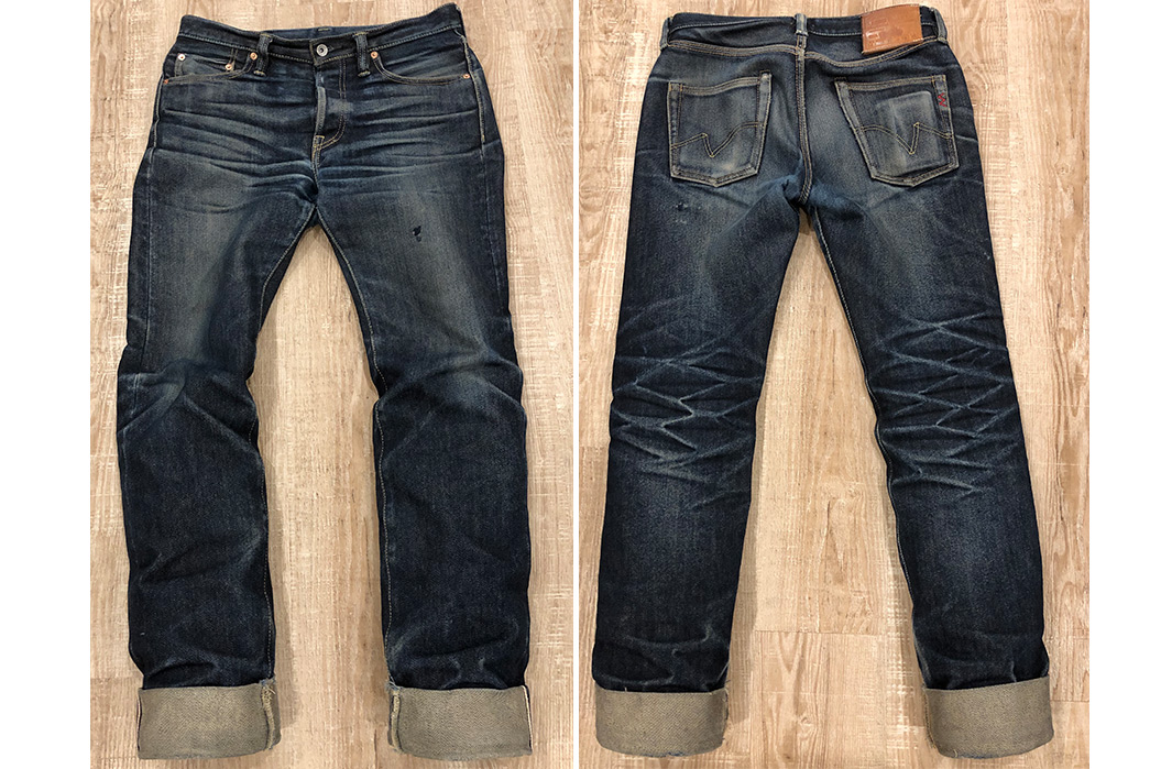 Fade-Friday---Iron-Heart-666-21oz.-Jeans-(1-Year,-1-Wash)-front-back