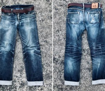 Fade-Friday---Momotaro-Copper-Label-G017-MB-(1-Year,-2-Washes,-1-Soak)-front-back