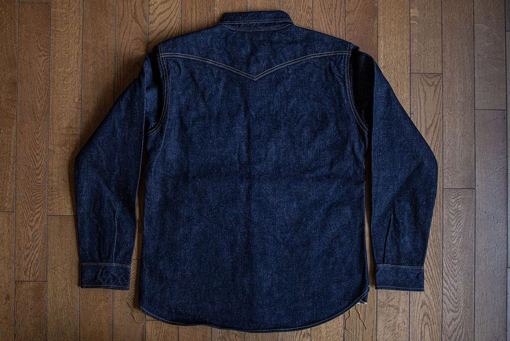 Iron Heart Re-imagine the CPO Shirt in 18 oz. Selvedge Denim back