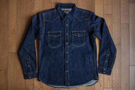 Iron Heart Re-imagine the CPO Shirt in 18 oz. Selvedge Denim front