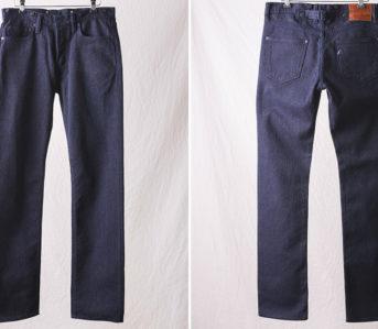 Pure Blue Japan 1158 Sashiko Cinch Back Pants front-and-back