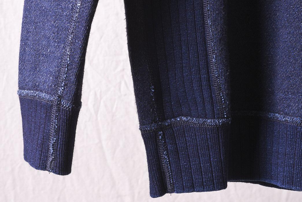 Pure-Blue-Japan-Knit-Twill-Indigo-Crew-Neck-Sweatshirt-back-sleeve
