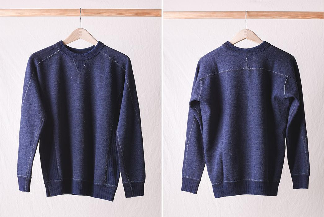 Pure-Blue-Japan-Knit-Twill-Indigo-Crew-Neck-Sweatshirt-front-back
