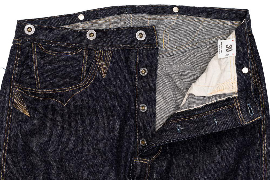 Warehouse-&-Co.-Pays-Tribute-To-Some-Of-The-Earliest-Known-Denims-With-the-1880-Waist-overall-front-top-open