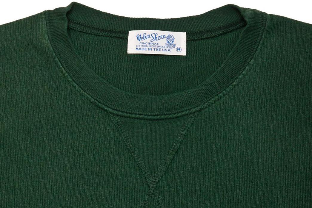 Velva-Sheen-Heavy-Oz-Crewneck-Sweats-green-front-top-collar