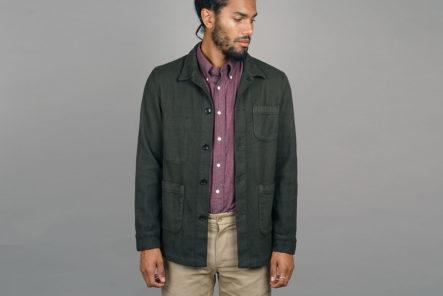 Epaulet-Does-Up-The-Doyle-Jacket-in-Olive-Sashiko-model-front