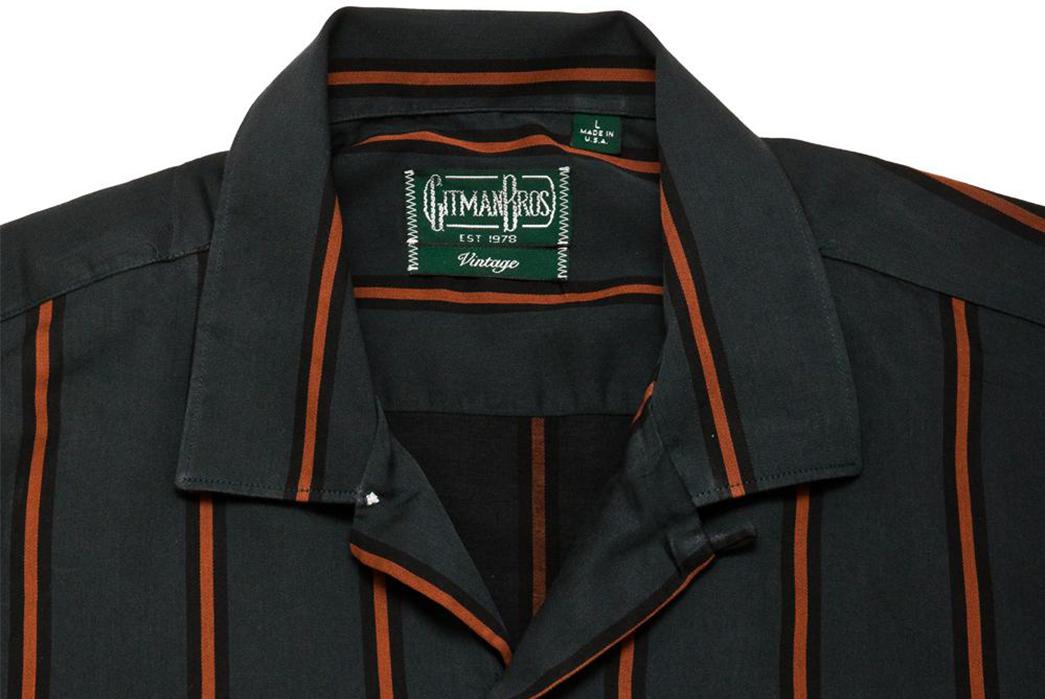 Gitman-Bros.-Vintage-Green-Satin-Regimental-Stripe-Camp-Collar-Shirt-front-collar
