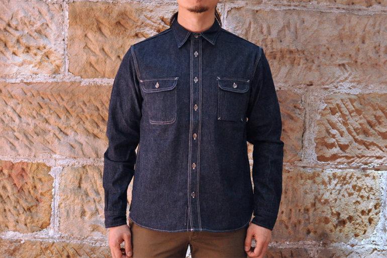 Samurai-12-oz.-Denim-Early-Work-Shirt-model front</a>