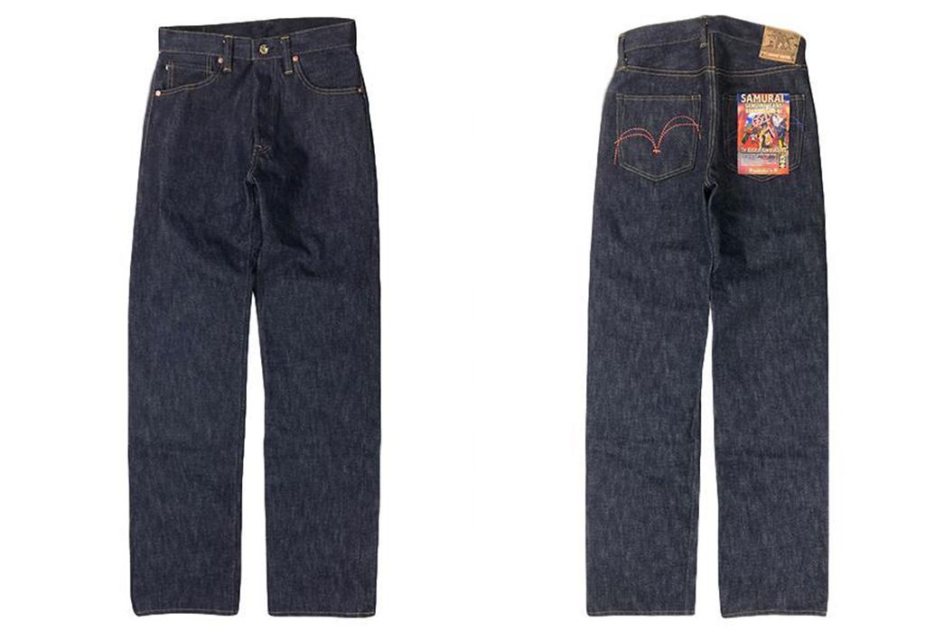 Samurai-Jeans-Honors-The-Battle-Of-Kawanakajima-With-21-Oz.-Raw-Denim-front-and-back